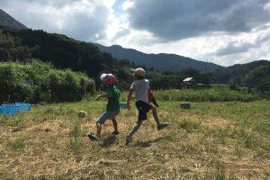 棚田でサッカー